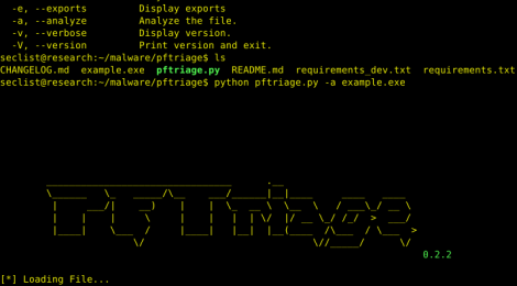 pftriage is a tool to help analyze files during malware triage.