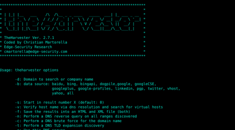 theharvester v2.7.1 - email, subdomain and people names harvester.
