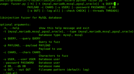 libinjection fuzzer - is a tool to fuzz MySQL database query to find libinjection bypass.