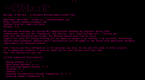 RFCrack - A Software Defined Radio Attack Tool.