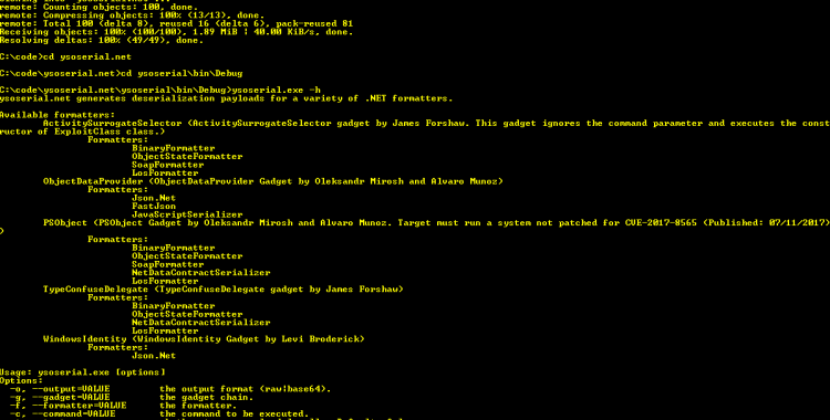 ysoserial.net - Deserialization payload generator for a variety of .NET formatters.