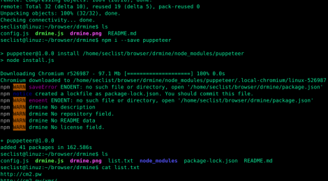 Dr  Mine is a node script written to aid automatic detection of in