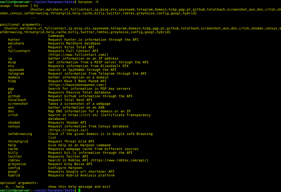 harpoon – CLI tool for open source and threat intelligence