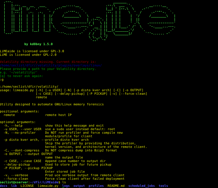 LiMEaide is a python application designed to remotely dump