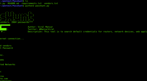 Passhunt is a simple tool for searching of default credentials for network devices, web applications and more.