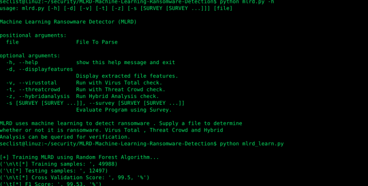 MLRD - Machine Learning Ransomware Detection.